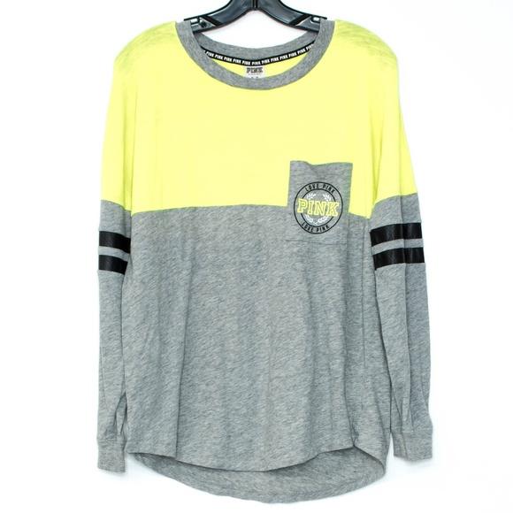 76229b10102df PINK VS Neon Yellow Gray Pocket Tee Medium B1